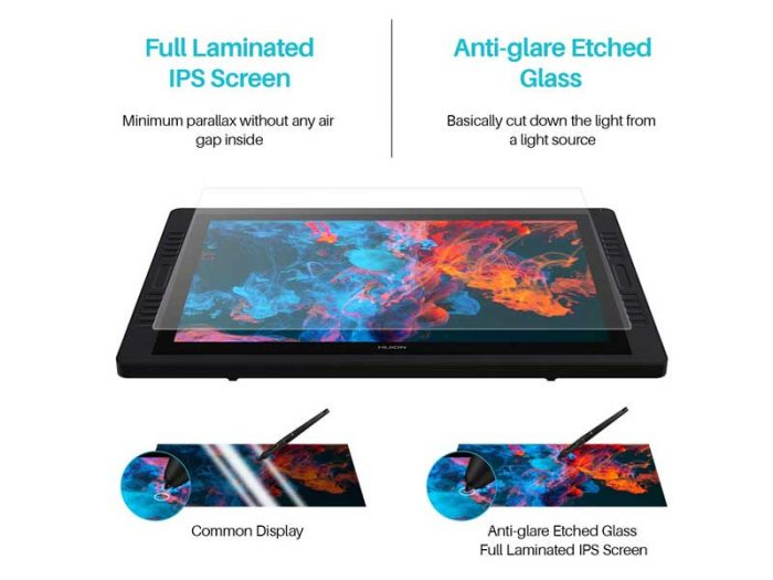 Huion Kamvas Pro 24 Features With Advanced Anti Glare Etched Glass